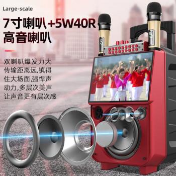 新科(Shinco) 广场舞音响带显示屏户外拉杆蓝牙音箱家用k歌唱歌跳舞视频机移动ktv看戏机播放器 蓝牙按键遥控版 音响标配【无话筒】
