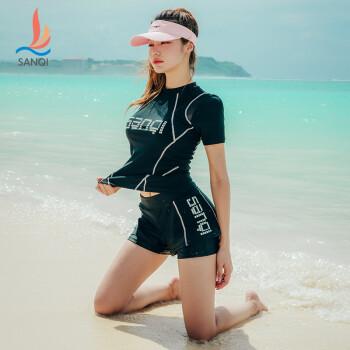 三奇 (SANQI) 泳衣女士分体 平角裤性感小胸聚拢 大码保守韩国网红 运动款泳装 20050 黑色 L