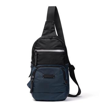 斯帕曼男士胸包2020新款大容量休闲男包牛津布旅行徒步斜挎帆布包 深蓝色