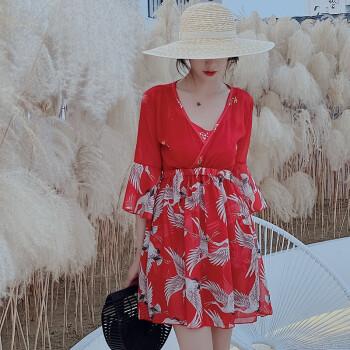 温泉大码泳衣女胖mm200斤遮肚显瘦保守宽松裙式分体三件套泳装 红色 3XL