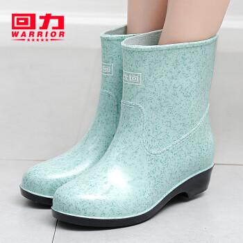 回力雨鞋女士加绒韩版防滑水鞋中筒时尚胶鞋套鞋雨靴女式 石斑绿(不加绒) 39