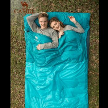 骆驼(CAMEL)户外双人睡袋 耐潮防寒保暖便携睡袋露营野营 A7S3KO1168/粉色/2.2kg 均码