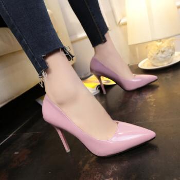 34 33小碼女鞋42 43大碼10cm高跟鞋細跟尖頭顯瘦黑色女單鞋偽娘鞋圖片