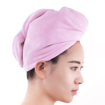 三利 超柔软不易掉毛干发巾 强吸水加厚加大浴帽 浅粉色