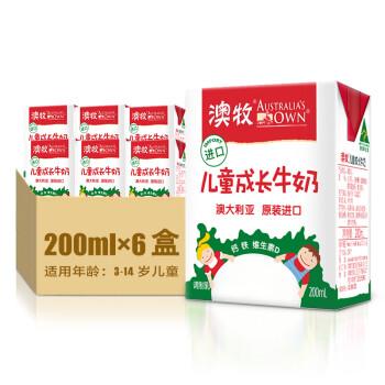 澳牧 Australia's Own 澳大利亚进口 儿童成长牛奶200ml*6/盒