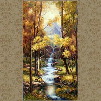歐美華手繪歐式山水風景油畫【三只小鹿】豎版 別墅客廳走廊玄關裝飾