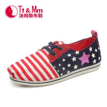 汤姆斯Tt&Mm新款帆布鞋女韩版潮学生厚底女款单鞋一脚蹬女生懒人布鞋TM531203W 红色 35