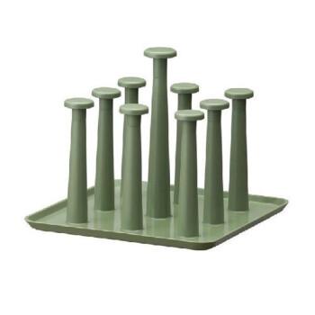 简约家用方形沥水杯架/杯托 玻璃水杯挂架 杯子架 倒挂杯架 茶杯架 啤酒杯架 豆绿色