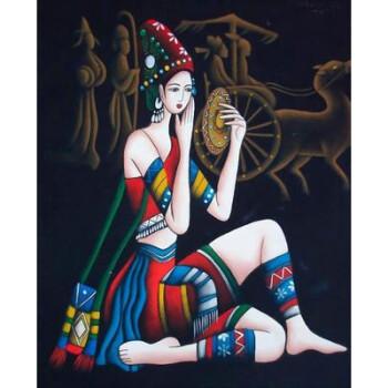 老��+�9o(9k�y.d_y.d装饰画云南民族风人物画客厅墙画卧室餐厅壁画挂