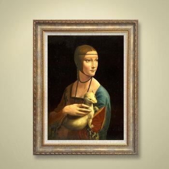 抱银鼠的女子达芬奇名画抱貂女郎欧式人物画别墅玄关走廊油画sn7325