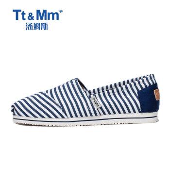 汤姆斯Tt&Mm女鞋2019新款夏季条纹帆布鞋女学生平底懒人一脚蹬单鞋透气百搭休闲鞋 深蓝色 36