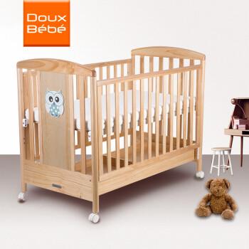 多宝贝(Doux Bebe) 婴儿床实木拼接大床bb摇篮儿童多功能新生儿带护栏 Basic【原木色】