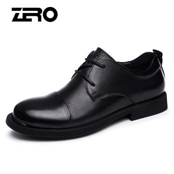 Zero意大利零度大头皮鞋 男春夏新款头层牛皮男士皮鞋宽脚百搭商务休闲鞋男 D81070 系带黑色 43