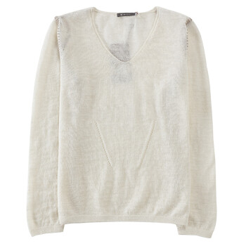 SOL ALPACA 女士牙白色秘鲁原产小羊驼毛亚麻混纺薄毛衣打底衫 13565 C003 牙白色 L