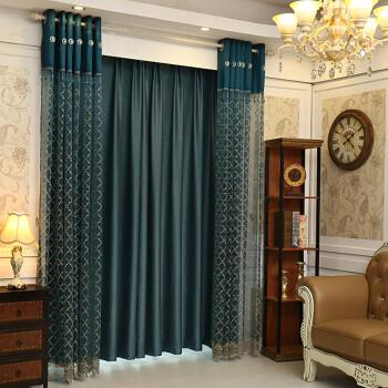 浮雕绣花纱帘欧式落地窗纱客厅阳台遮光窗帘布料飘窗卧室成品 宝蓝