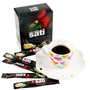 法国进口撒蒂sati 咖啡 意式浓缩Espresso速溶黑咖啡粉25条盒装(1.8g/条)
