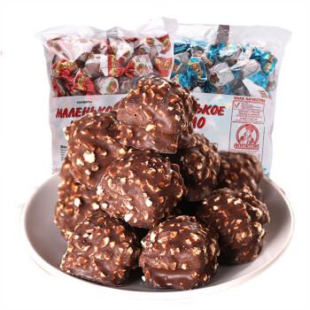 俄罗斯进口糖果巧克力大礼包 紫皮糖酸奶威化喜糖儿童圣诞糖果送礼散装批发夹心糖零食品 原味榛仁糖500g*2袋(红奶罐)