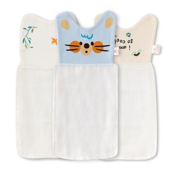 班杰威尔(banjvall)宝宝吸汗巾棉质婴儿隔汗巾四层纱布夏季儿童垫背巾大中小号 蓝皮鼠3条 大号25*53cm(包括卡头)