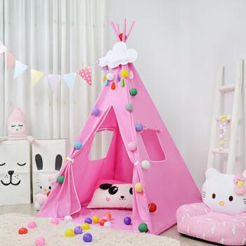 亿智儿童帐篷室内公主女孩游戏屋家用男孩印第安小帐篷儿童玩具屋 粉色印第安+地垫+棉线灯 送冰丝席彩云彩旗拎包