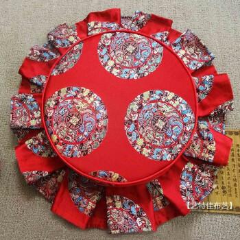 中式沙發坐墊 圓坐墊 圓凳子餐椅墊海綿座墊定做靠墊套裝裙邊 紅五龍圖片