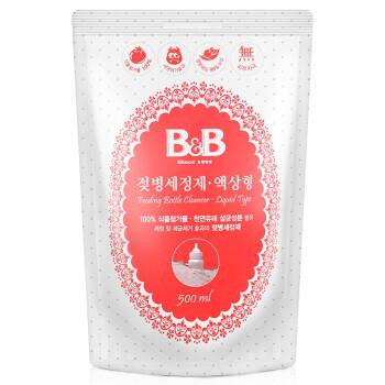 保宁(B&B)婴儿奶瓶清洁剂 韩国进口bb奶瓶奶嘴洗涤剂 爱护宝宝用品清洁剂洗奶瓶液(液体型-补充装)500ml