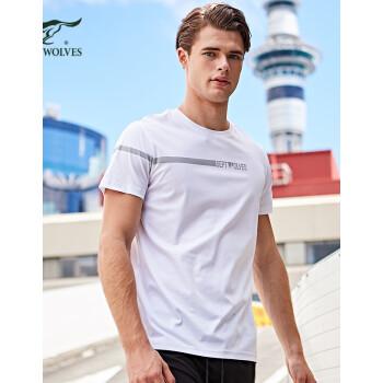 七匹狼户外短袖T恤男2020年夏季时尚圆领青年印花纯棉上衣体恤衫男士 102(深蓝) 175A