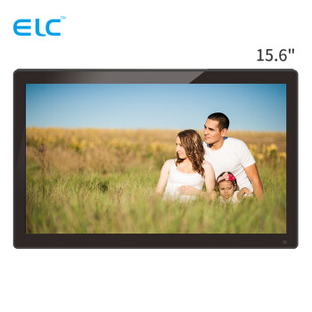 易乐看 ELC1501 15.6英寸宽屏16:9数码相框高清广告机支持1080P高清视频 黑色钢化玻璃+国标壁挂件