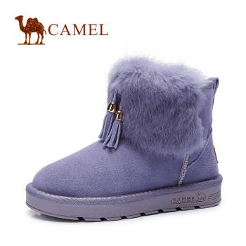 骆驼(CAMEL)雪地靴 新款短筒女鞋 绒里保暖兔毛真皮圆头平跟短靴 紫色 35