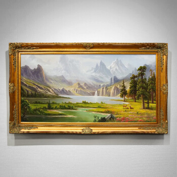 恒美手繪油畫定制歐式山水畫風景畫美式掛畫鹿客廳壁畫玄關裝飾畫 h框