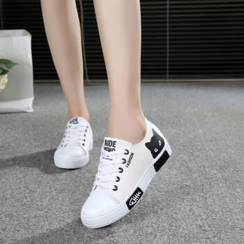 大童少女帆布鞋子女春韩版潮甜美公主初中生板鞋平底高中学生球鞋 白色B-6偏小半码 35