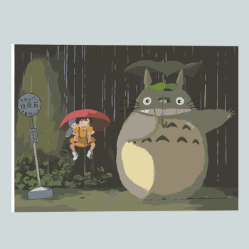diy數字油畫 宮崎駿龍貓客廳風景動物手繪手工裝飾畫填色畫 桔紅色 雨