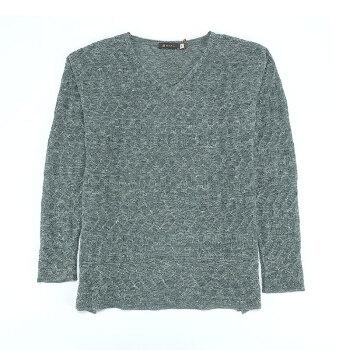 SOL ALPACA 女士灰绿色秘鲁原产小羊驼毛亚麻混纺薄毛衣打底衫 13560-VR1197 灰绿色 L