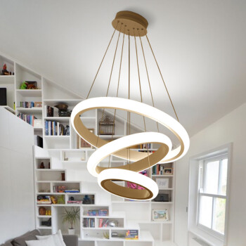 復式樓別墅躍層客廳吊燈現代簡約led燈具大戶型閣樓斜