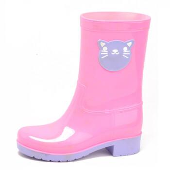 海天客雨鞋亲子款胶鞋水鞋套鞋女式中筒儿童防水雨靴P003 粉色猫咪 35码
