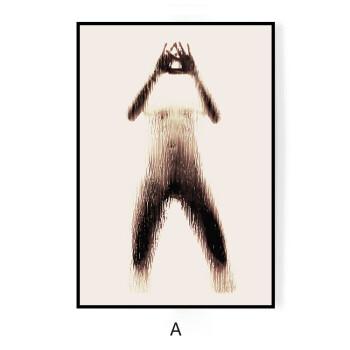 厕所门人体_字母剪影 现代装饰画美女墙画抽象裸身人体壁画厕所浴室挂画防水 a 50
