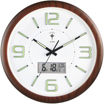 北極星(POLARIS)掛鐘15英寸靜音客廳萬年歷鐘表現代石英鐘時尚日歷時鐘創意掛表6808木紋夜光日歷款