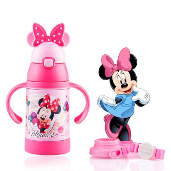 迪士尼(Disney)寶寶吸管杯學飲杯 兒童保溫杯 嬰兒水杯帶手柄背帶水壺 WD89粉色米妮280ml