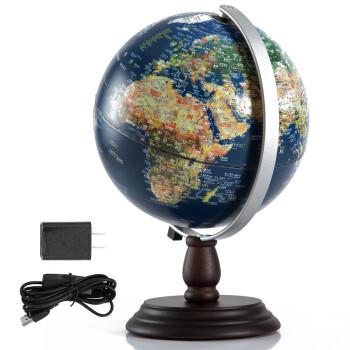 天屿 地球仪浮雕20cm高清学生用 中英文台灯教