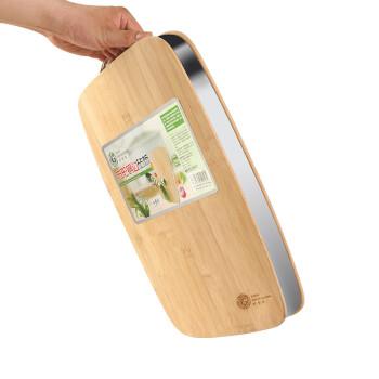 好管家 菜板 砧板不锈钢加厚剁骨板 长方形竹制切菜板案板 38*28*3.4cm