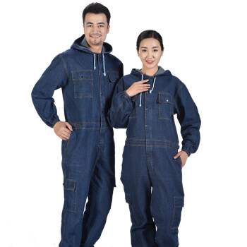 Men Women Denim Overalls Coveralls Workwear Jeans Jumpsuit Mechanic Uniform Sets