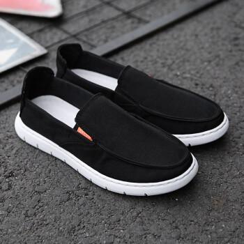 老北京布鞋男鞋夏季新品传统布鞋手工一脚蹬驾车休闲鞋大码亚麻透气男士帆布鞋套脚 G03黑色 45