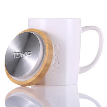 特美刻(TOMIC)咖啡杯 带盖陶瓷马克杯 大容量牛奶杯水杯 情侣杯TC1316U 白色 400ml
