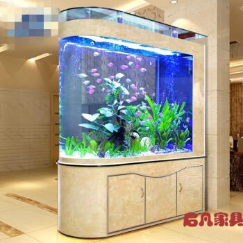 吧台玻璃生态鱼缸酒店创意养鱼现代底滤鱼箱水族箱创意时尚客厅 1米弧