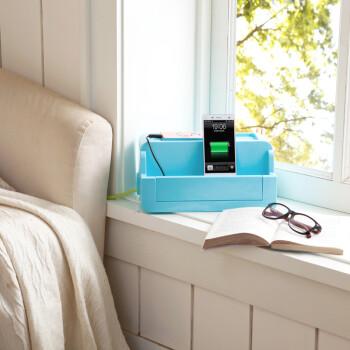 大容量电源线数据线收纳盒插线板收纳盒 蓝色