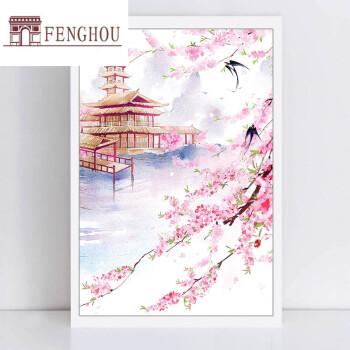 diy數字油畫古風中國風風景背景手繪水彩裝飾插畫女孩唯美意境 桃花
