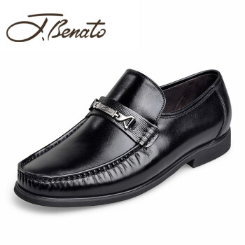 Jbenato宾度皮鞋 2019春季新款真皮男鞋英伦爸爸鞋耐磨男士商务休闲鞋 黑色OC85462 38