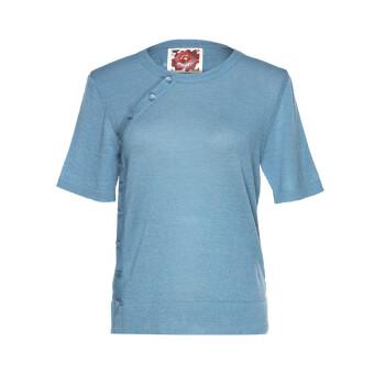 QAYTU盖图秘鲁原产轻奢设计师品牌小羊驼毛半袖侧扣超薄针织衫 QALWB01-2018-AZ6024 S