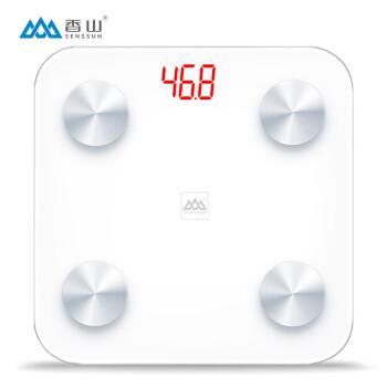 香山 电子秤 精准体重称重 加大家用健康秤面 46项体质数据监测 蓝牙APP控制 EF866i (纯白)