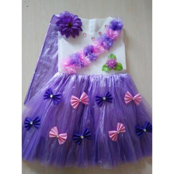 儿童环保演出服装无纺布塑料袋手工制作衣服时装走秀亲子装公主裙h 紫