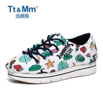 Tt&Mm/汤姆斯欧洲站个性涂鸦女鞋2018夏季潮款浅口休闲松糕帆布鞋TM837311W 白色 35